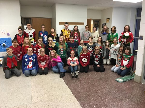 MGMS Students participating in Christmas Sweater Day.