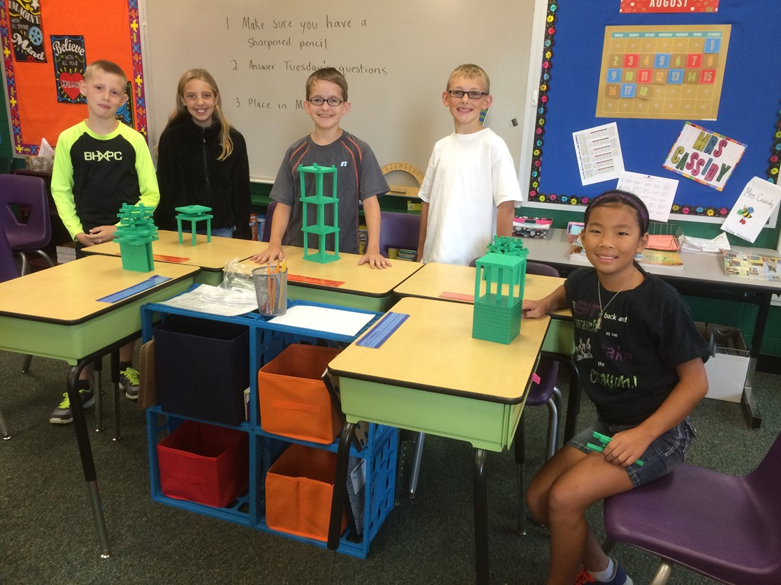 Fifth graders get familiar with math manipulatives