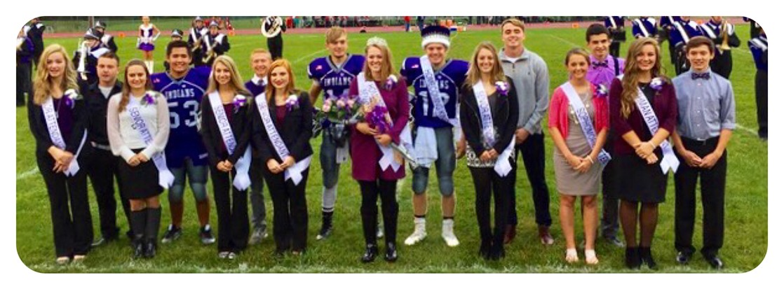 2016 Homecoming Court with Queen Ally Casto and King Jonah Barnett